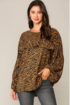 Zebra Printed Ruffle Front Dolman Top With Long Sleeves