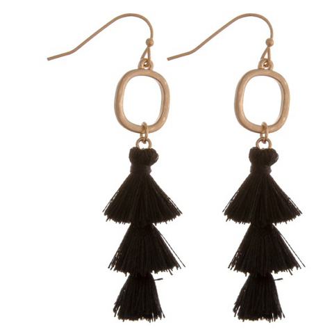 Fan Tassel Drop Earrings-Black
