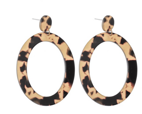 Tortoise Shell Resin Oval Statement Earrings