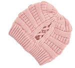 Ribbed Knit Beanie-Pink