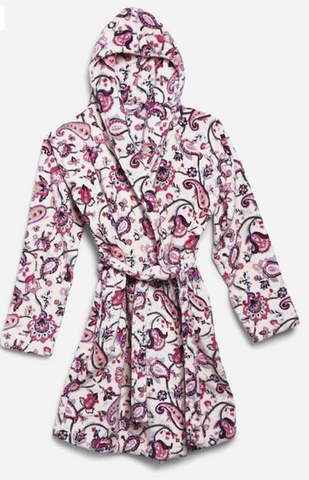 Plush Fleece Robe-Felicity Paisley Pink