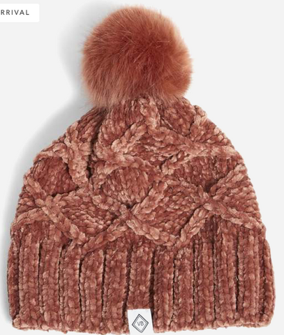 Chenille Beanie-Blush Fig