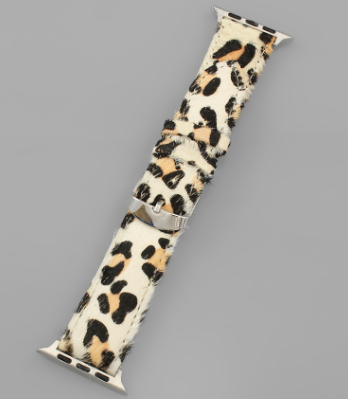 Animal Print Smart Watch Band-Ivory/Cheetah