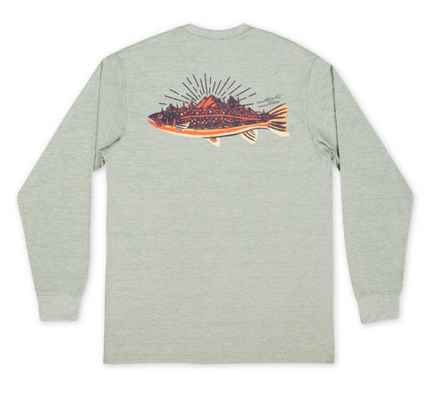 Southern Marsh LS FieldTec Heather Performance Tee - Speckled Sunset