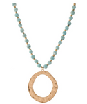 Long Semi Precious Beaded Hammered Pendant Necklace - Turquoise