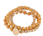 Wood Beaded Metal Tone Stretch Bracelet Set in Gold