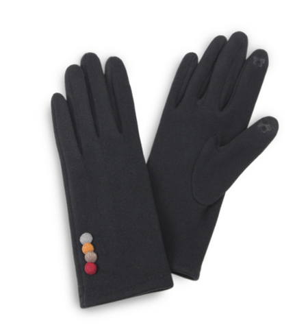 Faux Suede Smart Touch Gloves Featuring Multi Button Cuff Detail-Black