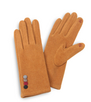 Faux Suede Smart Touch Gloves Featuring Multi Button Cuff Detail-Yellow