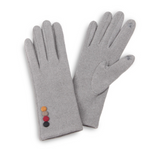 Faux Suede Smart Touch Gloves Featuring Multi Button Cuff Detail-Grey