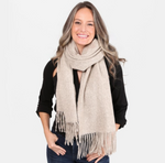 Solid Color Oblong Scarf Featuring Fringe Tassel Trim-Cream