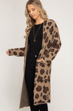 Long Sleeve Leopard Print Fuzzy Open Front Cardigan With Pockets