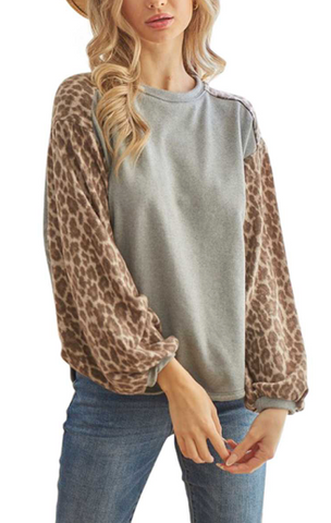 Leopard Puff Sleeve Contrast Curved Hem Top