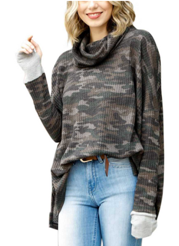 Camo Print Cowl Neck Waffle Knit Top