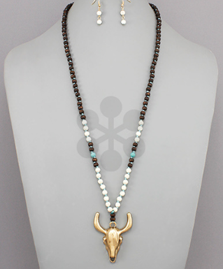 Long Horn Bead Necklace