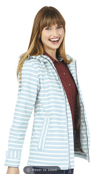 Charles River Aqua White Striped Raincoat