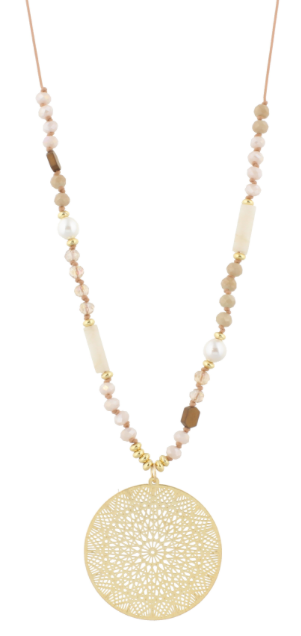 "32"" Adjustable Handknotted Pearl, AB, Beige with Circle Medallion"