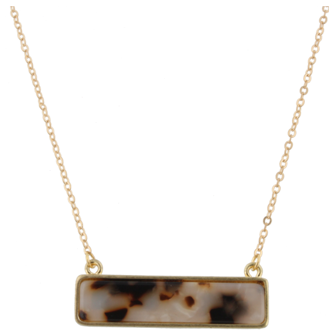 "16"" Gold Chain Double Sided Resin Rectangle, White Leopard & Leopard, 3"" Ext."