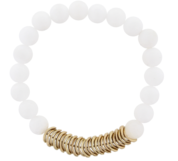 White Jade Beaded Stretch with Gold Wavy Disk Spacers