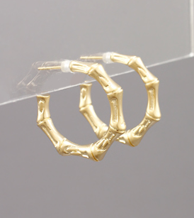 Bamboo Metal Gold Hoops