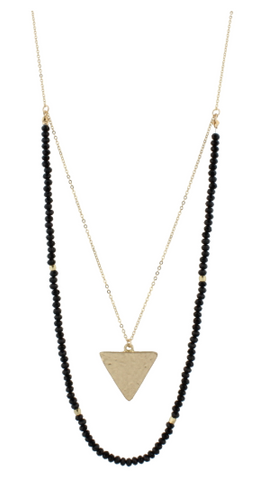 "32"" Black Beaded Double Layer with Gold Triangle, 3 Ext."