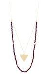 "32"" Purple Beaded Double Layer with Gold Triangle, 3"" Ext."