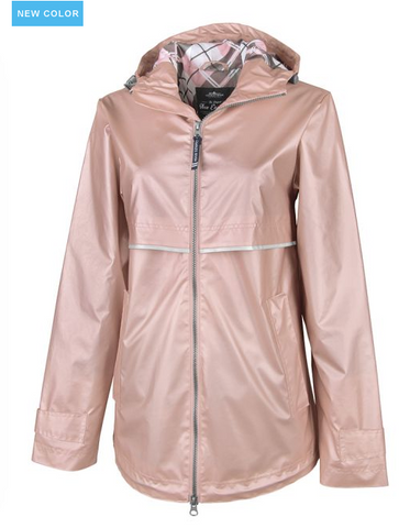 Charles River New Englander Print Raincoat Rose Gold and Plaid