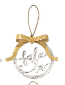 Fa La La Metallic Bow Ornament