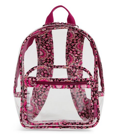 Vera Bradley Clearly Stadium Backpack Raspberry Medallion