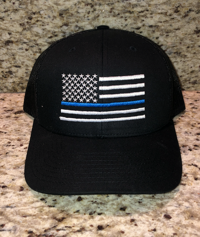 Blue Line American Flag Black Snapback Hat