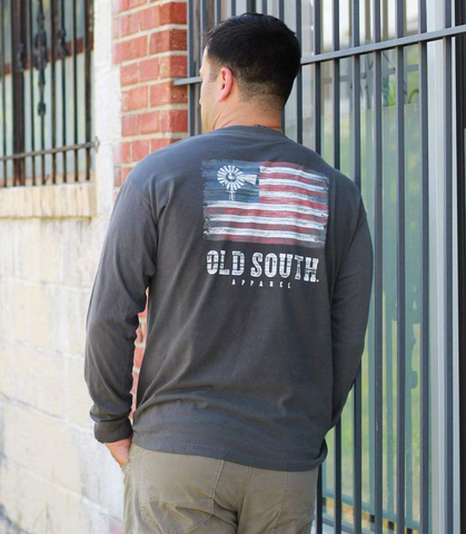 Old South Pallet American Flag Long Sleeve Tee