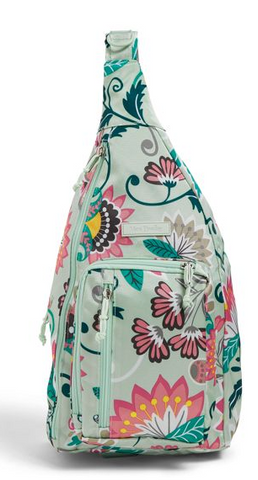 Vera Bradley Lighten Up SLing Backpack Mint Flowers
