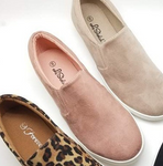 Blush Suede Slip On Sneakers
