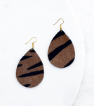 Tiger Print Hide Leather Teardrop Earrings
