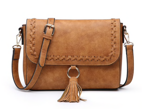 Camel Whipstitch Flapover Crossbody with Tassel