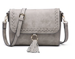 Grey Whipstitch Flapover Crossbody with Tassel