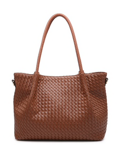 Brown Woven Texture Tote Bag