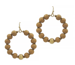 Light Mocha Wood Beaded Hoop Earrings