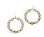Natural Wood with Gold Beaded Hoop Earrings