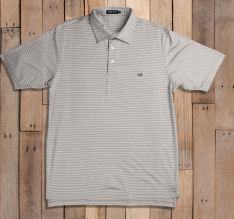 Southern Marsh Baldwin Gray and White Striped Polo