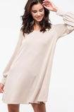 Long Sleeve Taupe Tie Back Dress