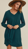 Solid V-Neck Dress with Long Sleeves and Hem Twist