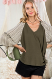 Olive V Neck Long Ruffle Edge Top
