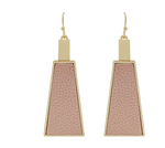 Pink Leather and Gold Triangle Earrings