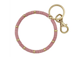 Pink Rubber Coated and Gold Key Ring