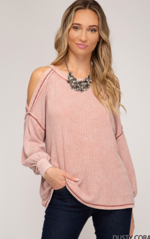 Dusty Coral Long Sleeve Cold Shoulder Garment Dyed