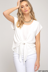 Off White Drop Shoulder Woven Top with  Front Tie Detail