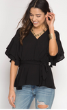 Double Ruffled Half Sleeve Surplice Wrap Top With Waist Tie