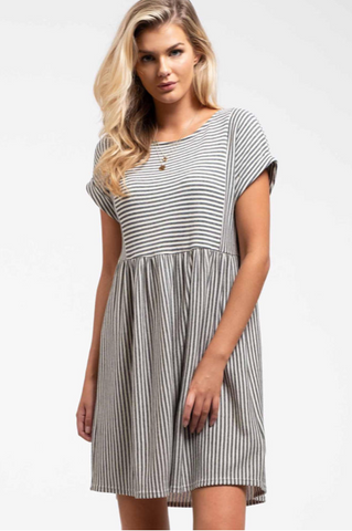 Striped Babydoll Knit Dress