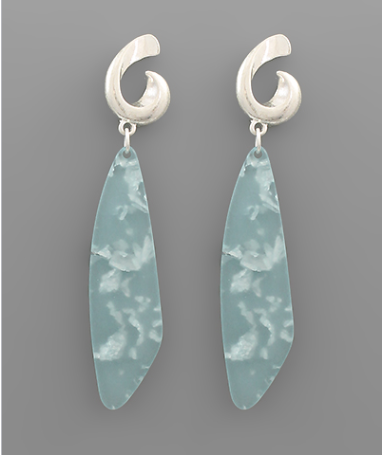 Flake Acrylic Dangle Earrings - Light Blue/Silver