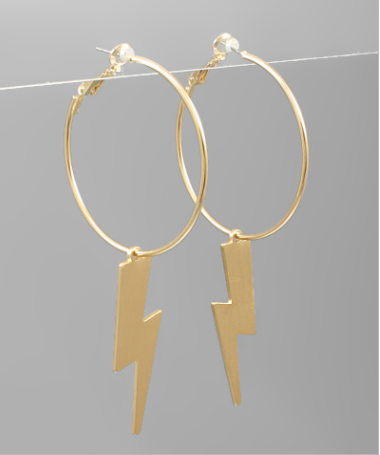 Lightning Dangle Hoops - Gold